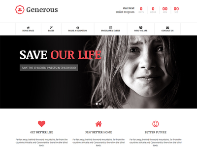Generous - Charity HTML Template poverty orphan ngo lorn fund raising events event management donation crunchpresss crowdfunding child care charity