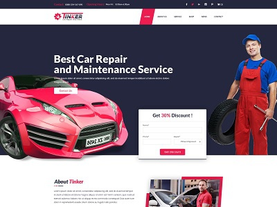 Tinker Car Repair And Ecommerce Template