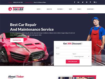 Tinker – Car Repair HTML Template mechanic flat clean cars car shop car repair car blog auto shop auto blog auto