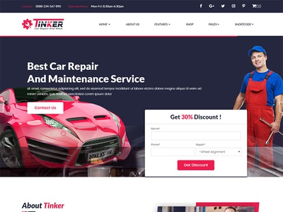 Tinker – Car Repair and eCommerce Template