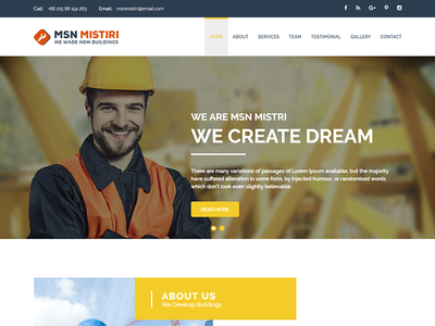 MSN Mistiri - Construction PSD Template mines industry handy engineering contractor construction construct cleaning building architecture architects