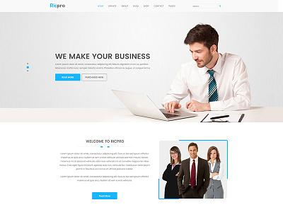 Ricpro - Corporate PSD Template website templates web design simple design psd template green gray dark corporate site clean templates clean psd business web bright