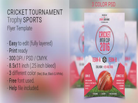 Cricket Tournament Trophy Sports Flyer Template