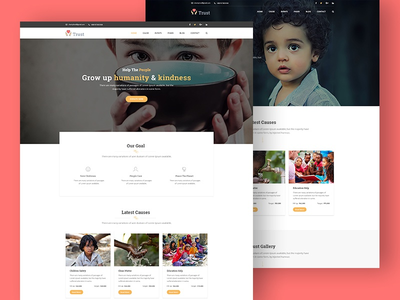 Trust – Nonprofit Charity Bootstrap Template nonprofit help child fundraising donation charity fund charity
