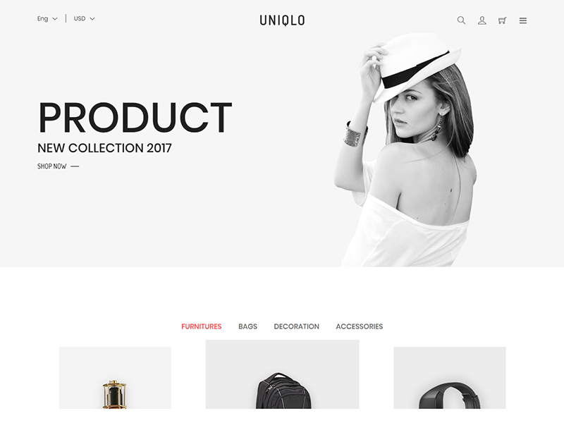 Uniqlo - Minimalist eCommerce Template technology sport shopping responsive interior html5 furniture flowers fashion cookery clothes bootstrap