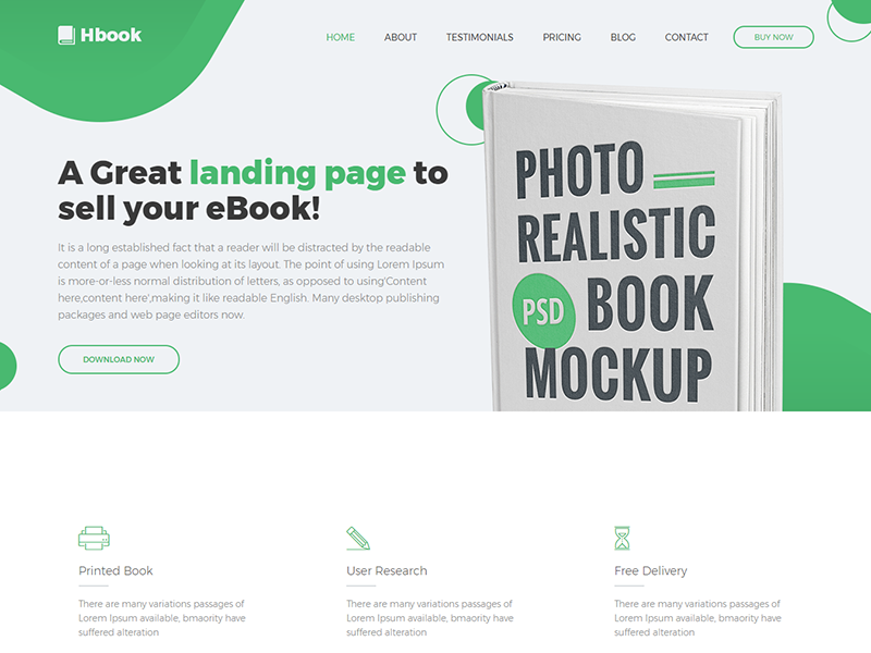 Hbook - Responsive Book Landing Page Template sell parallax scrolling one page marketing mailchimp ready landing page html5 google maps ebook book