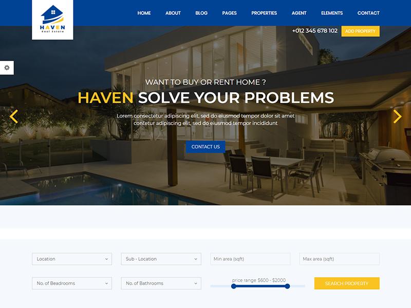 Haven - Real Estate HTMLTemplate rental realtor real estate agent property map listing google maps directory developer business broker apartment