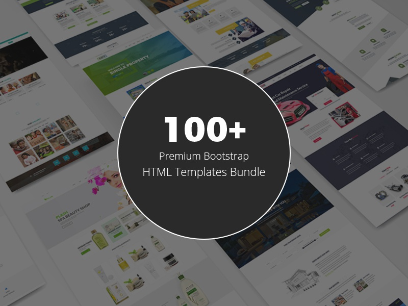 100 Bootstrap HTML Templates Bundle template bundle real estate landing page health  beauty fashion event education ecommerce html template deals creative corporate
