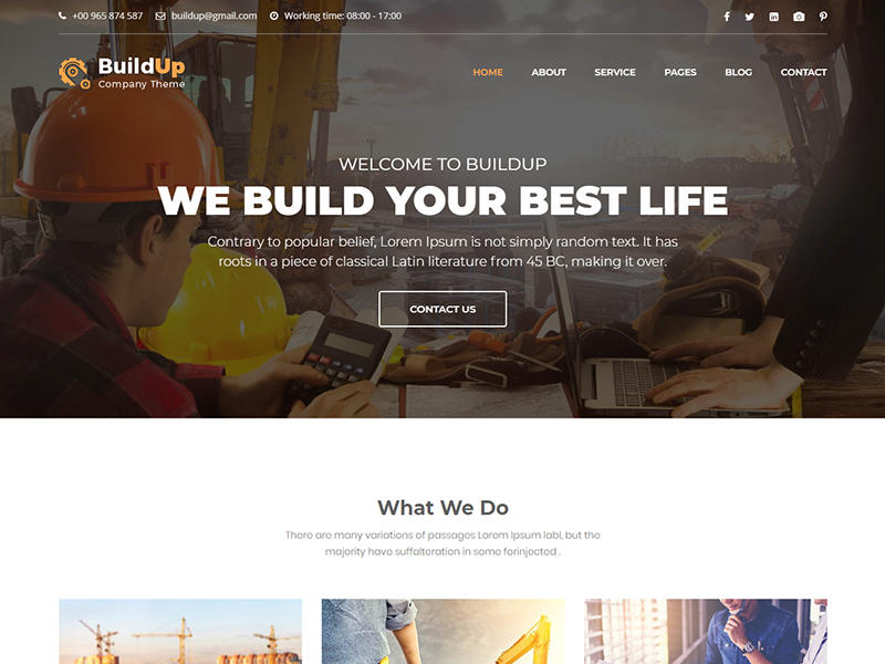 Buildup - Construction Building Company HTML Template responsive plumber industry engineering corporate constructor construction company chemicals building architecture