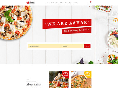 Aahar - Food Delivery Service Bootstrap4 Template travel room restaurant resort reservation hotel holiday food delivery bread and breakfast booking blog