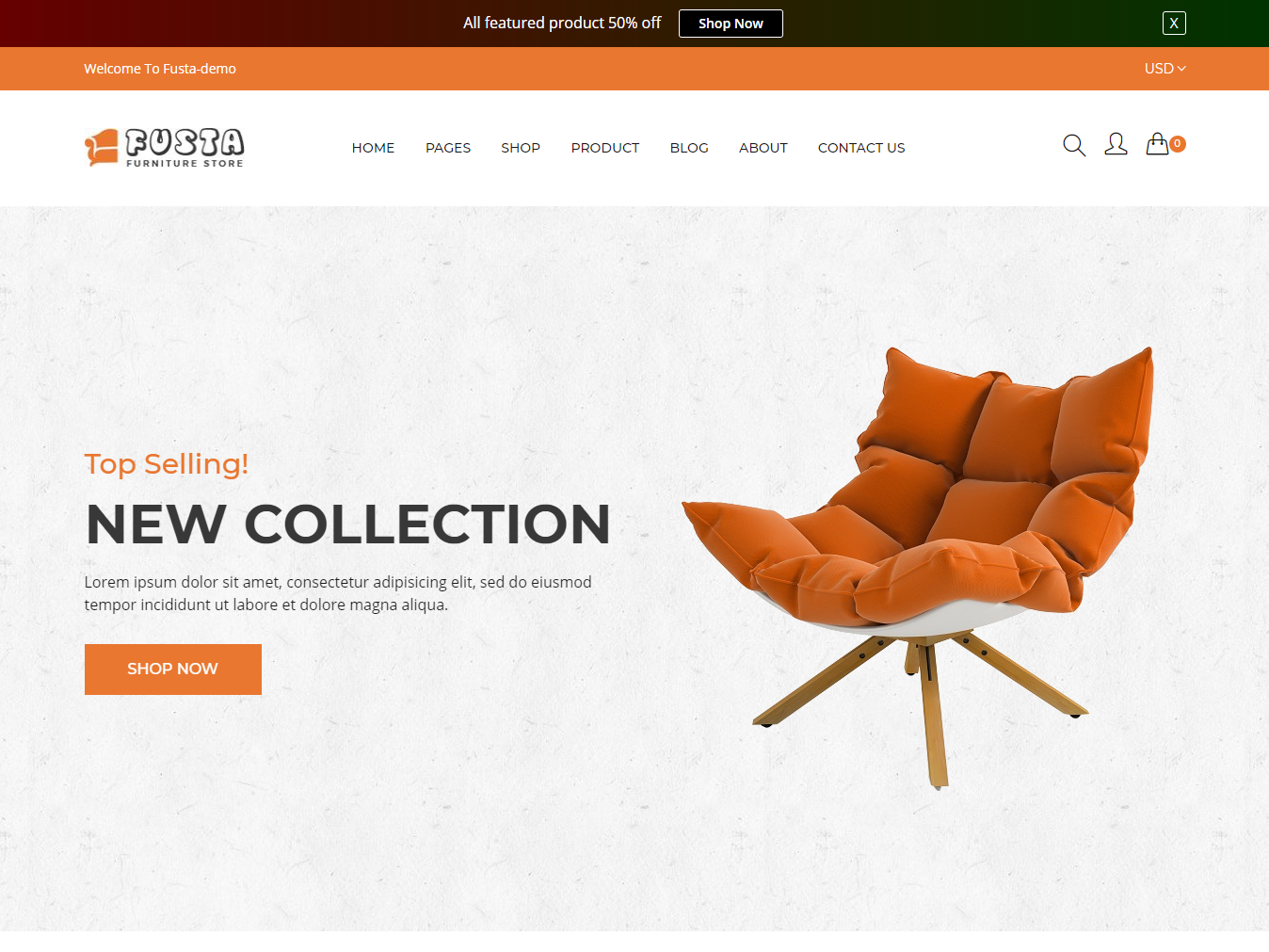 Fusta - Furniture Shopify Theme + RTL + Dropshipping supermarket shopping store shopping shopify shop responsive modern jewelry furniture fashion electronics ecommerce business accessories