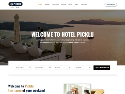 Picklu - Hotel and Resort Bootstrap 4 Template vacation travel tourism spa rooms resort motel hotel creative clean business bootstrap 4 booking beautiful accommodation