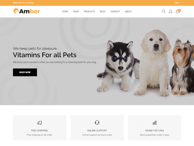 Amber - Pet Care Shopify Theme shopping store shopify theme shopify responsive pet shop pet modern fashion dog cute clean cat care animal care