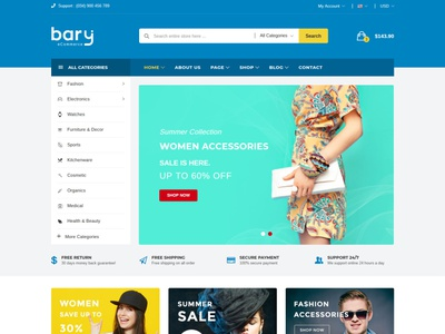 Bary - Responsive eCommerce HTML Template ecommerce html5 bootstrap store responsive products modern gadgets electronics shop electronics parts electronics electronic html digital products digital clean accessories