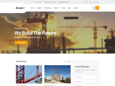 Duncan   Construction HTML Template responsive renovation construction interior design constructor construction html5 construction company construction business construction agency construction building builders bootstrap4 architecture architect