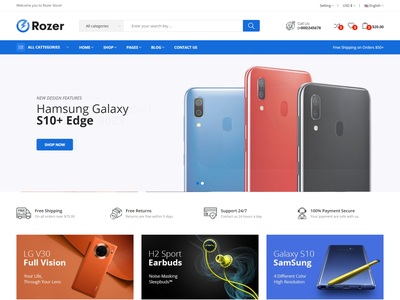 Rozer   Electronics eCommerce HTML5 Template store responsive products modern gadgets electronics shop electronics parts electronics electronic html digital products digital clean accessories