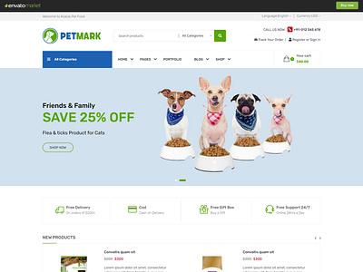 Petmark - Pet Food Shop HTML Template pet food store html template pet food ecommerce template grooming ecommerce html template petmark html template responsive pet food web template pet food shop html template
