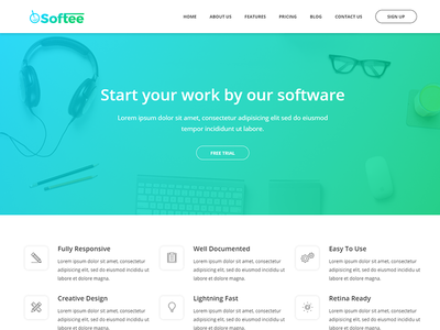 Softee - Multipurpose Software / SaaS Product Theme technology software programs multiple skins ipad html5 creative business template bootstrap