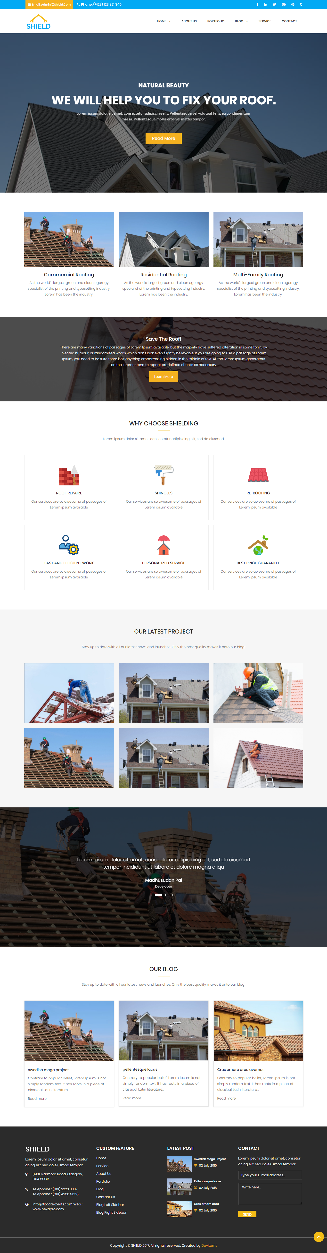 Shield Roofing Service Html Template By Hastech On Dribbble