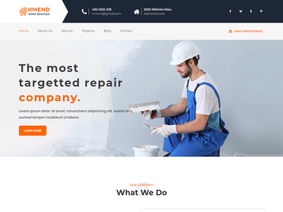 Hmend - Home Maintenance, Repair Service HTML Template roofing renovation remodeling painter house repair house building home maintenance heating handyman electrician door repair construction