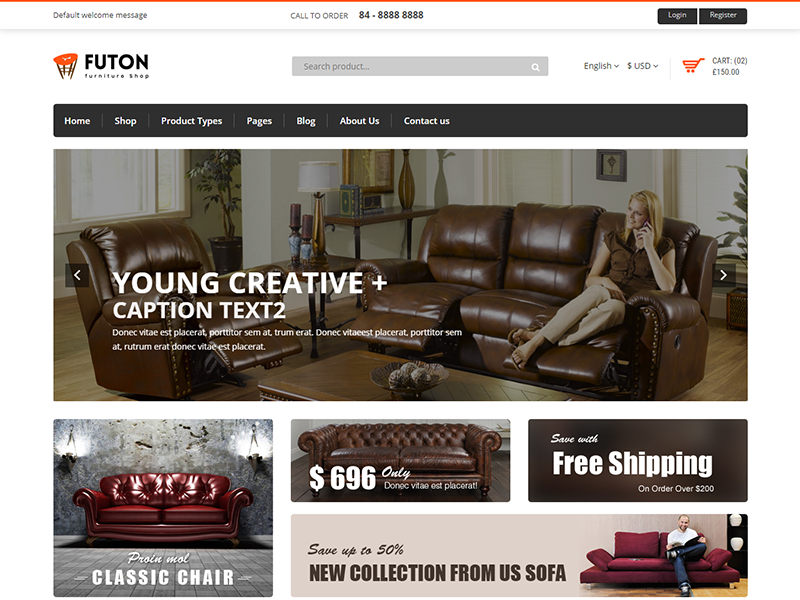 Futon Furniture Ecommerce Bootstrap 4