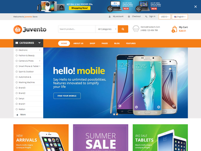 Juvento - Electronics Ecommerce Bootstrap 4 Template shopping bootstrap agency business tech shop retail responsive online shop modern megastore mega menu electronics store electronics ecommerce business devices creative clean bootstrap4 accessories