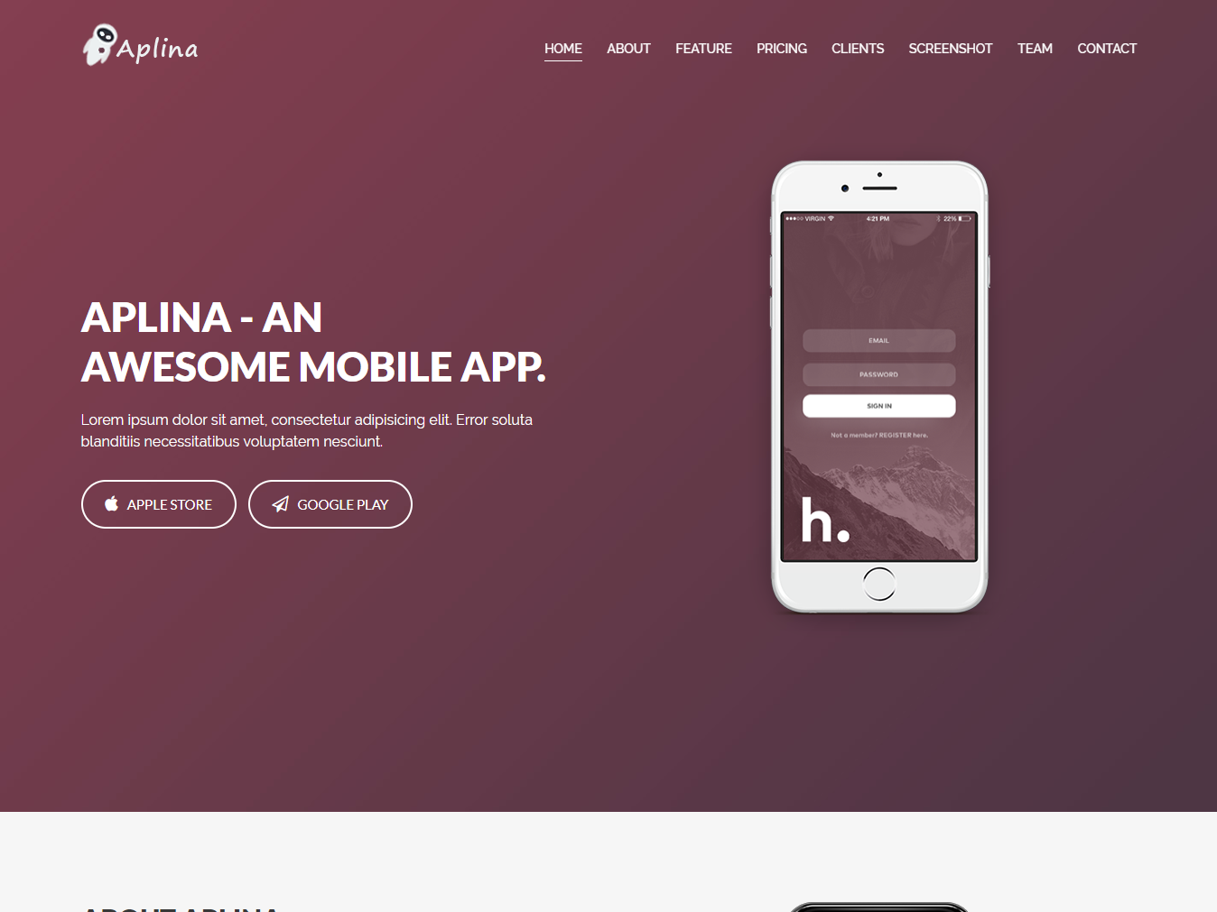 Aplina App Landing Page Bootstrap 4 Template By Hastech Dribbble