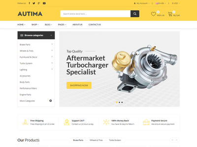 Autima - Car Accessories Bootstrap HTML Template shop responsive organic online store modern html fashion ecommerce color swatches clean car part car accessories auto parts accessories