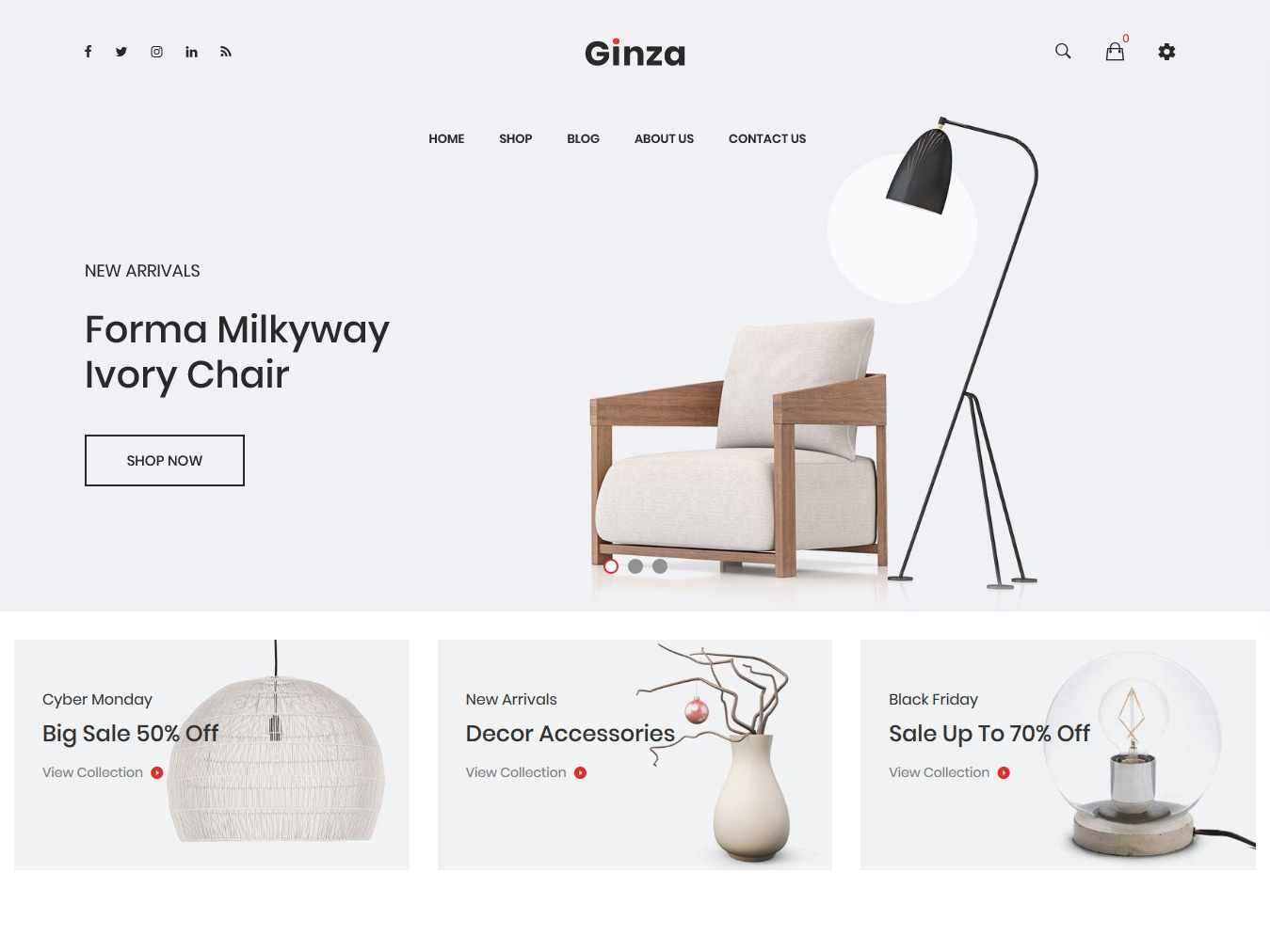 Ginza - Furniture Shopify Theme bootstrap responsive store shopping store shopify theme shopify sections shop multipurpose modern minimal interior handmade furniture fashion ecommerce creative clean