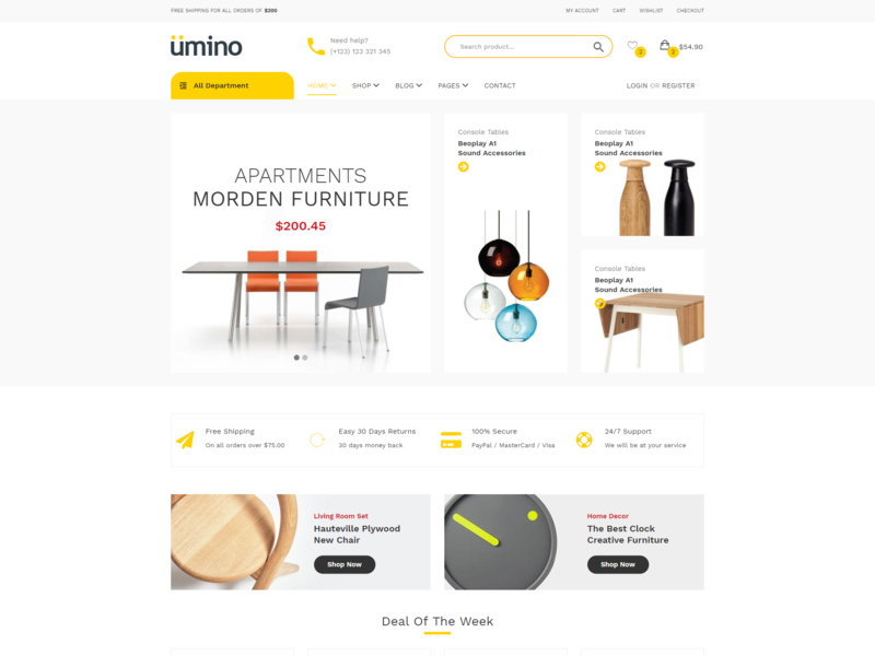 Umino   Furniture   Interior Ecommerce Bootstrap 4 Template ecommerce responsive html5 bootstrap pillows modern mattress interior design inside indoors hotel home interior glass furniture design decor clean bedroom bed
