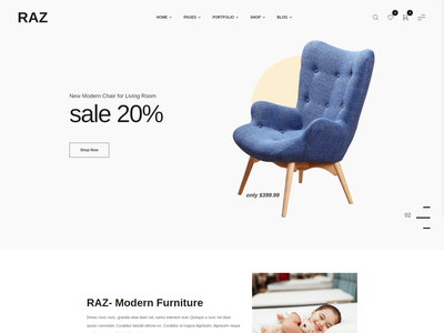 Raz - Furniture Store HTML5 Template html5 shop responsive office furniture kitchen furniture interior hotel home accessories furniture ecommerce website ecommerce decoration decor bootstrap bathroom architecture