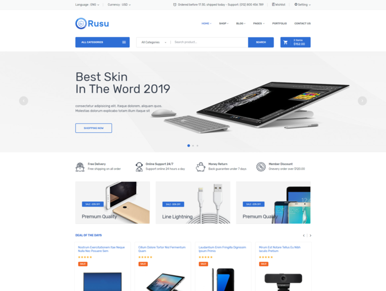Rusu   Electronics eCommerce HTML Template