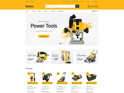 Esther - Tools & Accessories Store HTML Template html5 bootstrap spare parts shop responsive online store modern mechanic html ecommerce car store car part car accessories bike parts automotive auto parts accessories