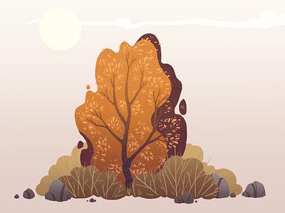 Bushes autumn stone bushes trees tree background cartoon illustration