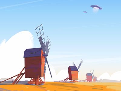 Windmills ufo illustration ladnscape sky spaceship windmill procreate ipadpro