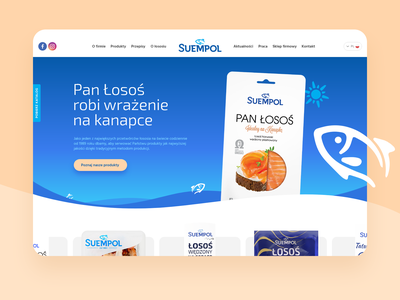 Suempol - Fish Producer Website food webpage webdesign waves ux animation micronimation ui ideative suempol wordpress website blue salmon fish