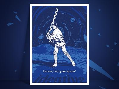 Lorem, I am your ipsum! fanart blue luke skywalker luke ideative office poster art star wars poster