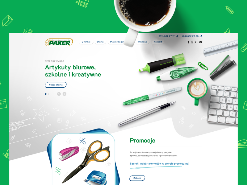 Paxer Website pencil coffee website webpage ux ui wordpress webdesign stationery