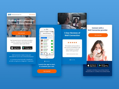 Well Connection Mobile Landing Page ios homepage landing page website responsive product layout grid interface web design template sketch page landing mobile web app design ui ux