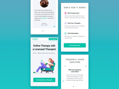 Talkspace Mobile Landing Page template web design website web ui ux sketch landing page landing ios interface homepage responsive product page mobile layout grid design app