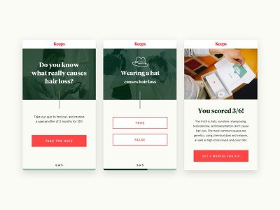Keeps Mobile Quiz website web design web ux ui template sketch responsive product page mobile layout landing page landing ios interface homepage gird design app