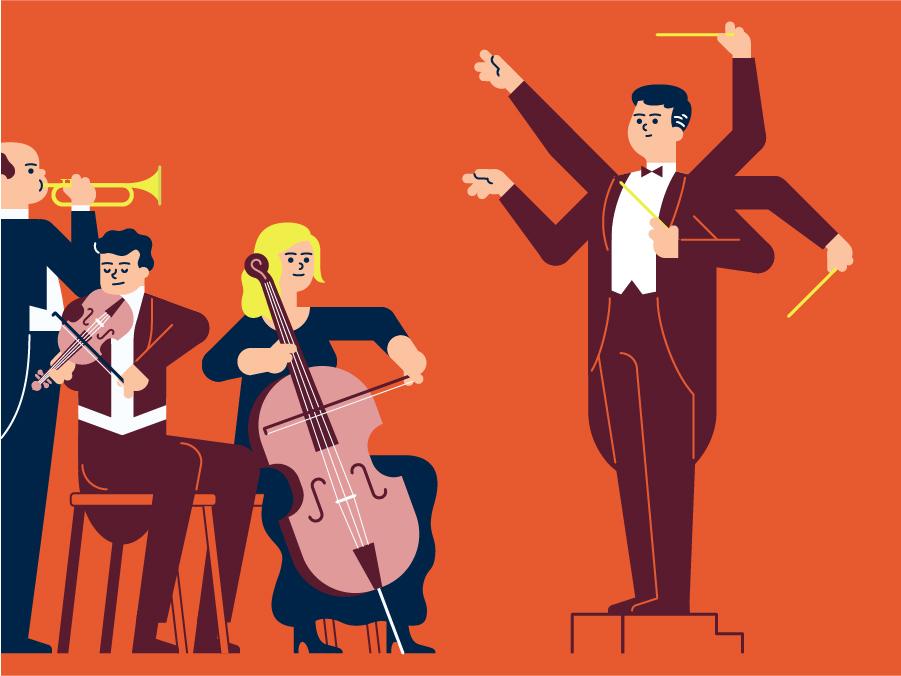 Opus red opera classical music festival orchestra music art music design illustrator icon minimal web vector illustration flat