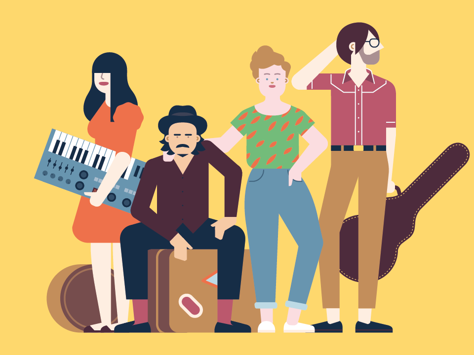 Zero Festival indie festival music vector minimal illustration flat