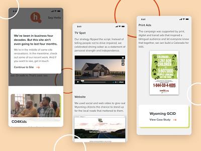 Agency Microsite email design mobile design agency website mobile web ui