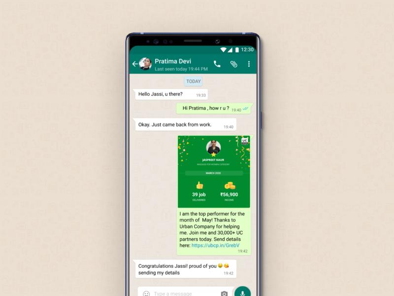 Partner Referrals on WhatsApp ux design chat referral facebook whatsapp uidesign uxdesign