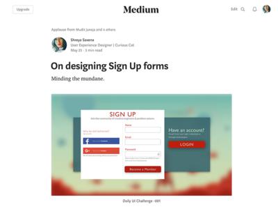 My Medium Blog on Designing Sign Up Forms