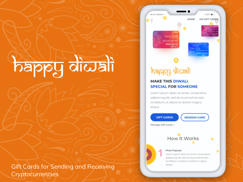Mobile View for Koinex Diwali Gift Cards responsive app mobile diwali cryptocurrency blockchain crypto crypto wallet