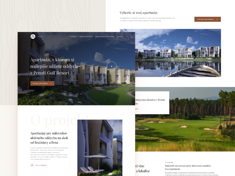 LuxApartments.sk / Homepage web real estate project construction website construction real estate homepage design homepage minimal minimalism golf club golf website design web design website apartments apartment webdesign ui ux