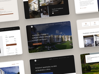 LuxApartments.sk / Bunch of screens homepage product detail gallery flat constructor construction architect architecture design architecture building golf apartments for sale apartments apartment ux design uxui web webdesign ui ux