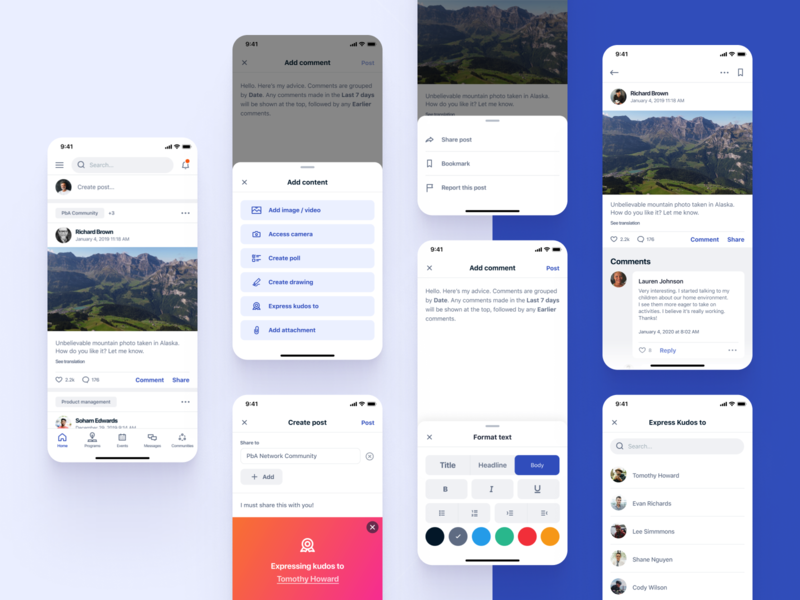 PbA / Powered by Action / Newsfeed notifications comments comment share non-profit nonprofit ios app design mobile app design mobile ui mobile design mobile apps newsfeed mobile app app ui ux ux design uxui ux ui
